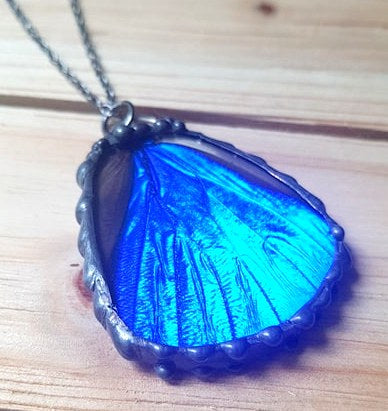 Shimmering Blue Morpho Rhetenor Butterfly Hindwing Pendant, Blue Morpho Necklace