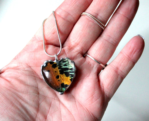Bubble Heart Sunset Moth Pendant, Colorful Heart Necklace, Real Moth Heart Pendant