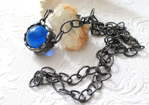 Vintage Deep Blue Marble Gunmetal Necklace, Sphere Marble Pendant, Deep Blue Round Glass Pendant