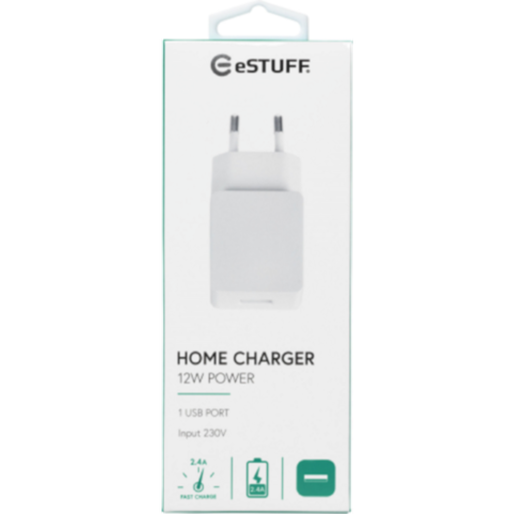 eSTUFF Home Charger 1 USB 2,4A, 12W Seinälaturi-Handle It Online Store