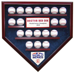 19 Baseball Boston Red Sox 2018 World Series Homeplate Shaped Display Case