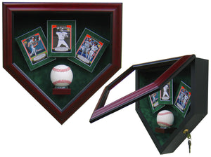 1 Baseball with 3 Cards Homeplate Shaped Display Case