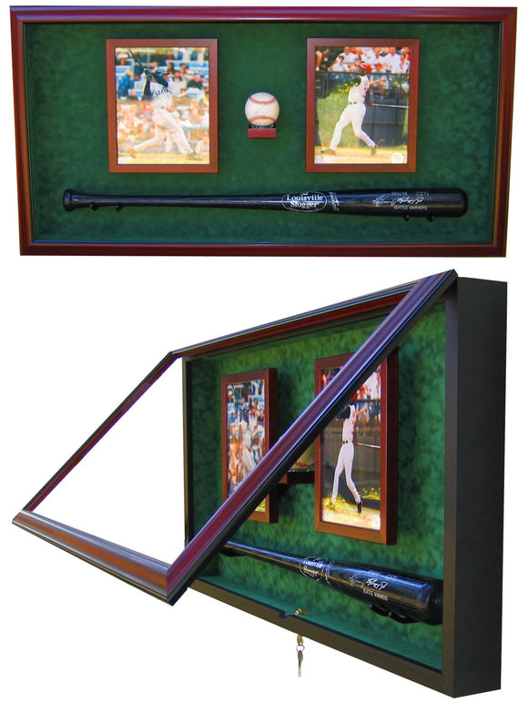 Baseball Bat with Baseball and (2) 8x10 Photos Display Case