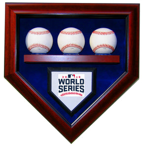 3 Baseball Chicago Cubs 2016 World Series Homeplate Shaped Display Case