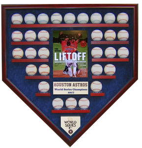 30 Baseball w/SI Houston Astros 2017 World Series Homeplate Shaped Display Case