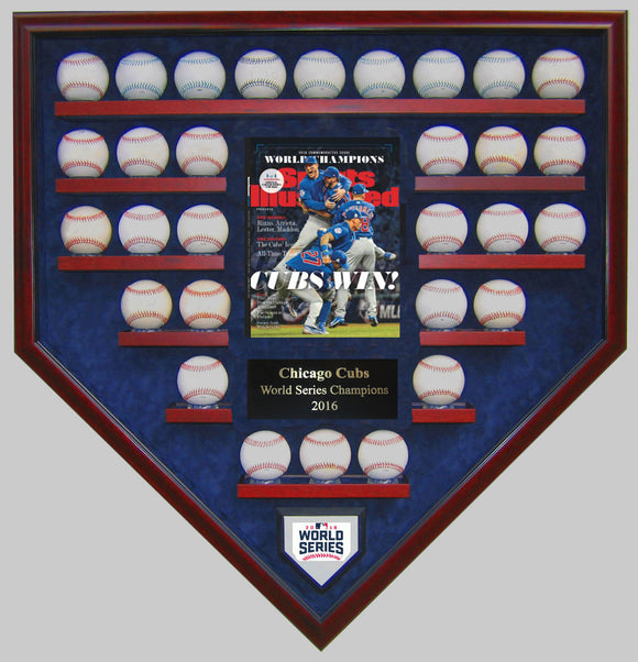 30 Baseball w/SI Chicago Cubs 2016 World Series Homeplate Shaped Display Case