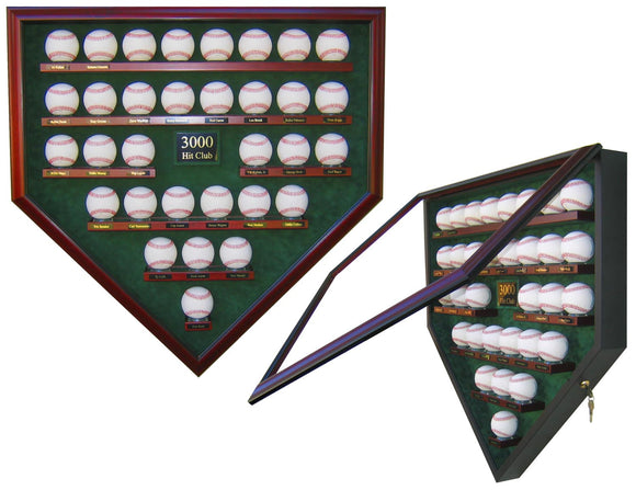 3000 Hit Club Baseball Homeplate Shaped Display Case