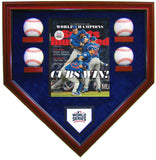 4 Baseball w/SI Chicago Cubs 2016 World Series Homeplate Shaped Display Case