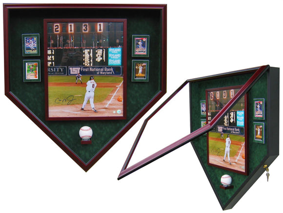 1 Baseball, 16x20 Photo and 4 Cards Homeplate Shaped Display Case