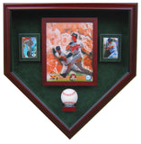 1 Baseball, 8x10 Photo and 2 Cards Homeplate Shaped Display Case