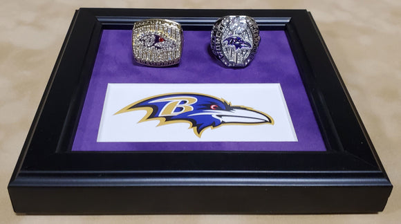 Baltimore Ravens 2 Super Bowl Replica Ring Set with Desk Platform