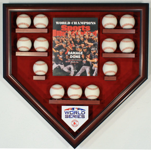 13 Baseball w/SI Boston Red Sox 2018 World Series Homeplate Shaped Display Case
