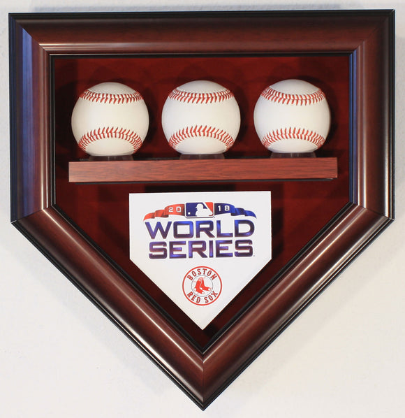 3 Baseball Boston Red Sox 2018 World Series Homeplate Shaped Display Case