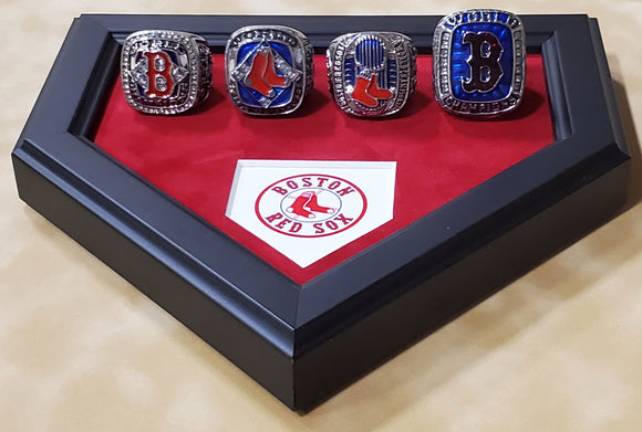 Boston Red Sox 4 World Series Replica Ring Set with Homeplate Shaped Desk Platform