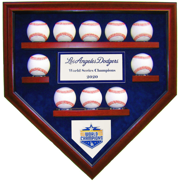 10 Baseball LA Dodgers 2020 World Series Homeplate Shaped Display Case