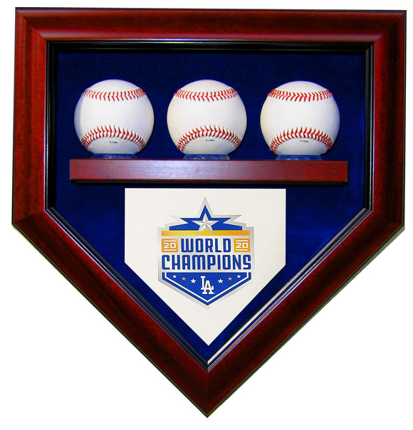 3 Baseball LA Dodgers 2020 World Series Homeplate Shaped Display Case