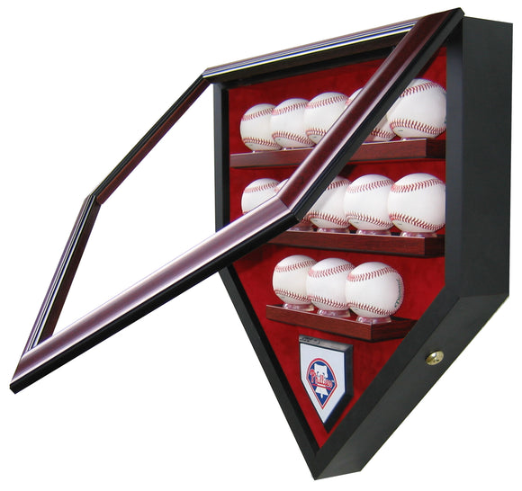 13 Baseball Team Homeplate Shaped Display Case