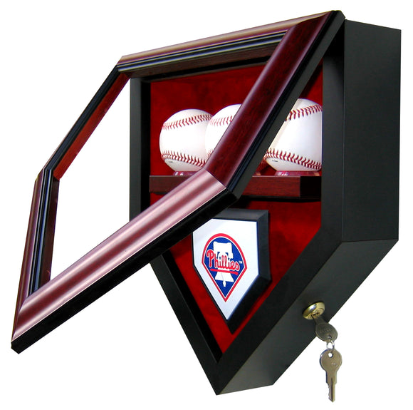 3 Baseball Team Homeplate Shaped Display Case