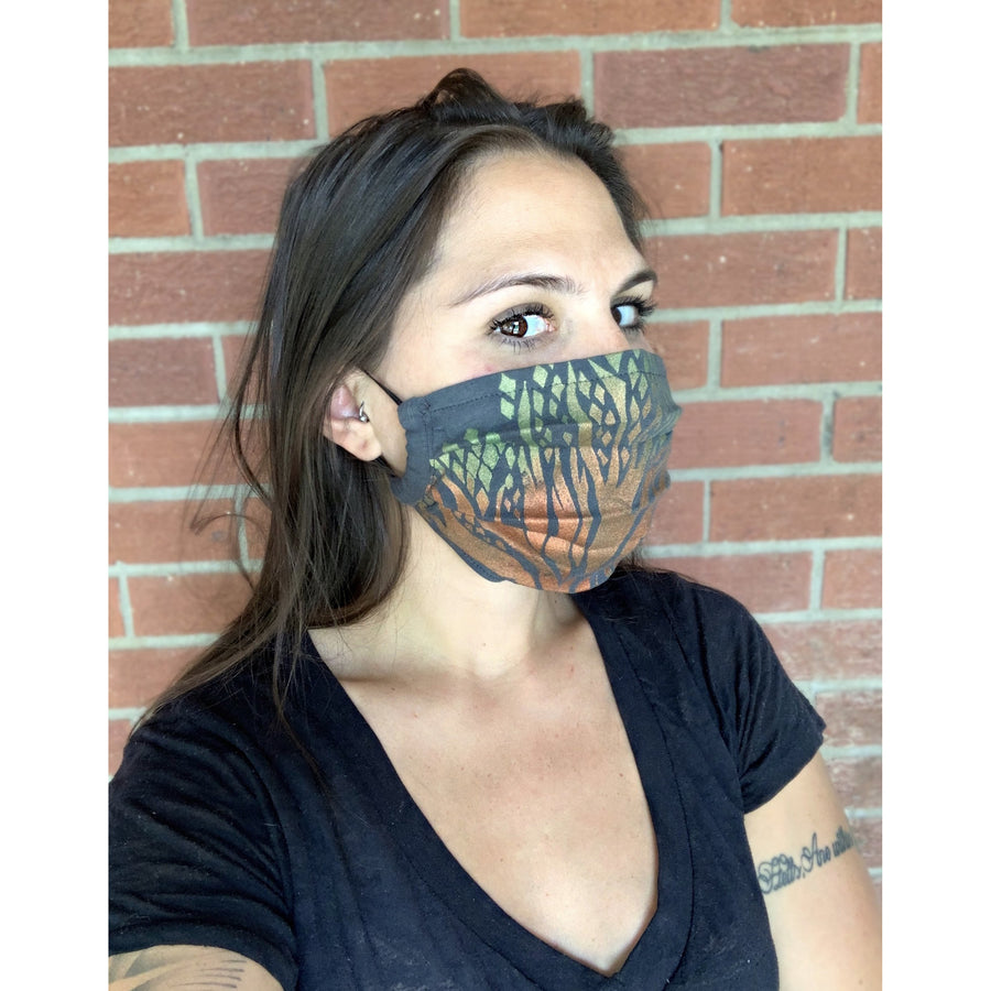 Tree of Life Hand Painted Bamboo Face Mask w/ Liner