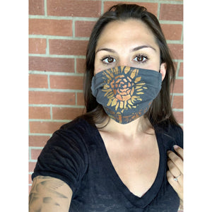 Sunflower Hand Painted Bamboo Face Mask w/ Liner