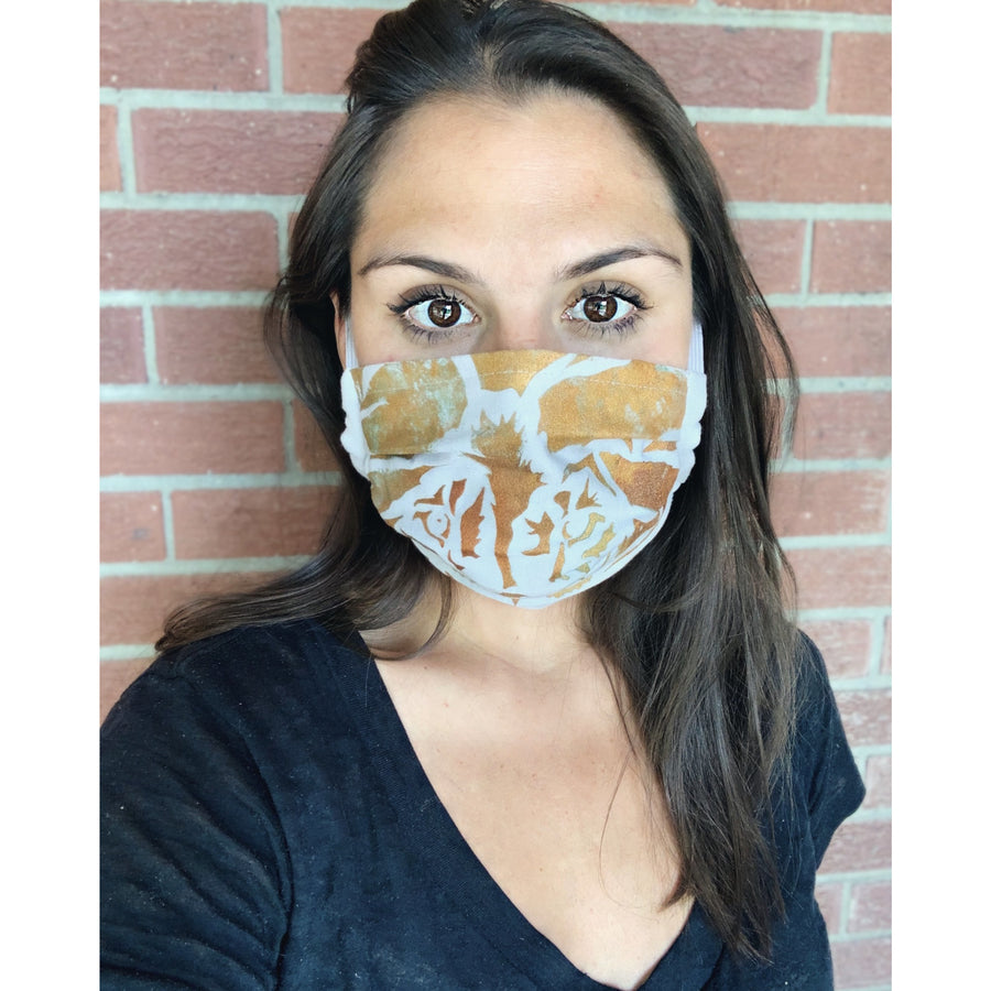 Lion Hand Painted Bamboo Face Mask w/ Liner