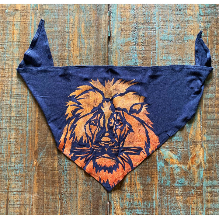 Lion Hand Painted Bamboo Bandana w/ Liner
