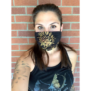 Sunflower Field Hand Painted Bamboo Face Mask w/ Liner