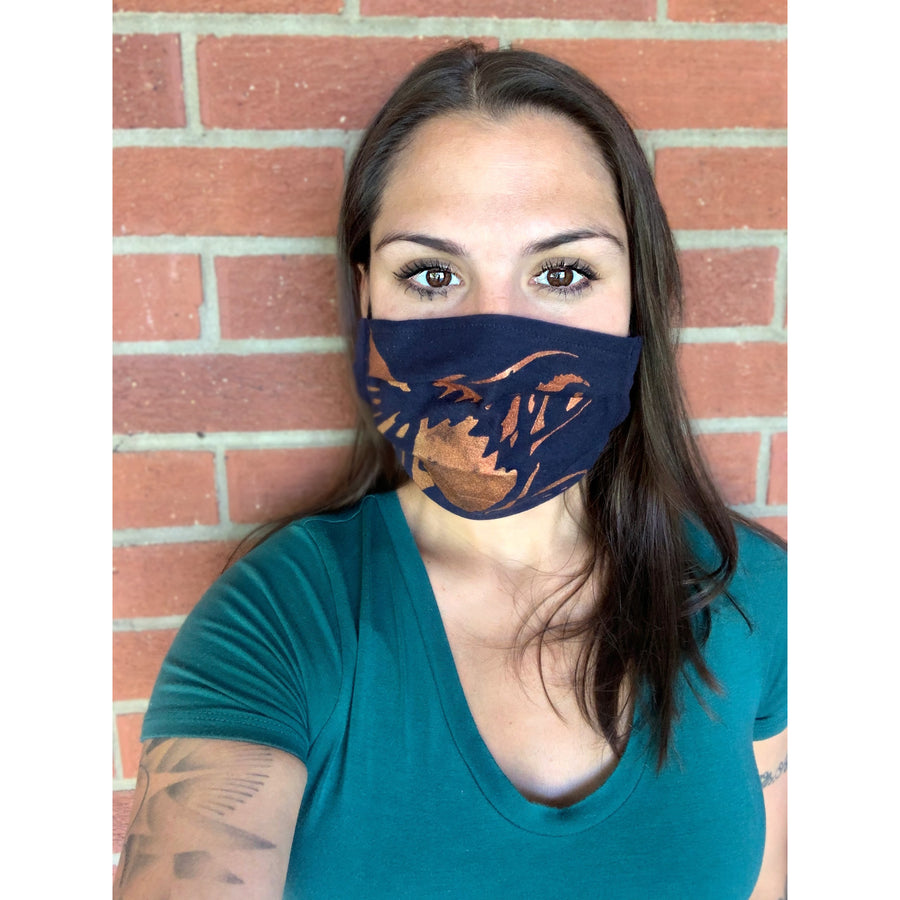 Hummingbird Hand Painted Bamboo Face Mask w/ Liner