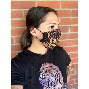 Bronco Hand Painted Bamboo Face Mask w/ Liner