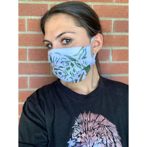 Bear Hand Painted Bamboo Face Mask w/ Liner