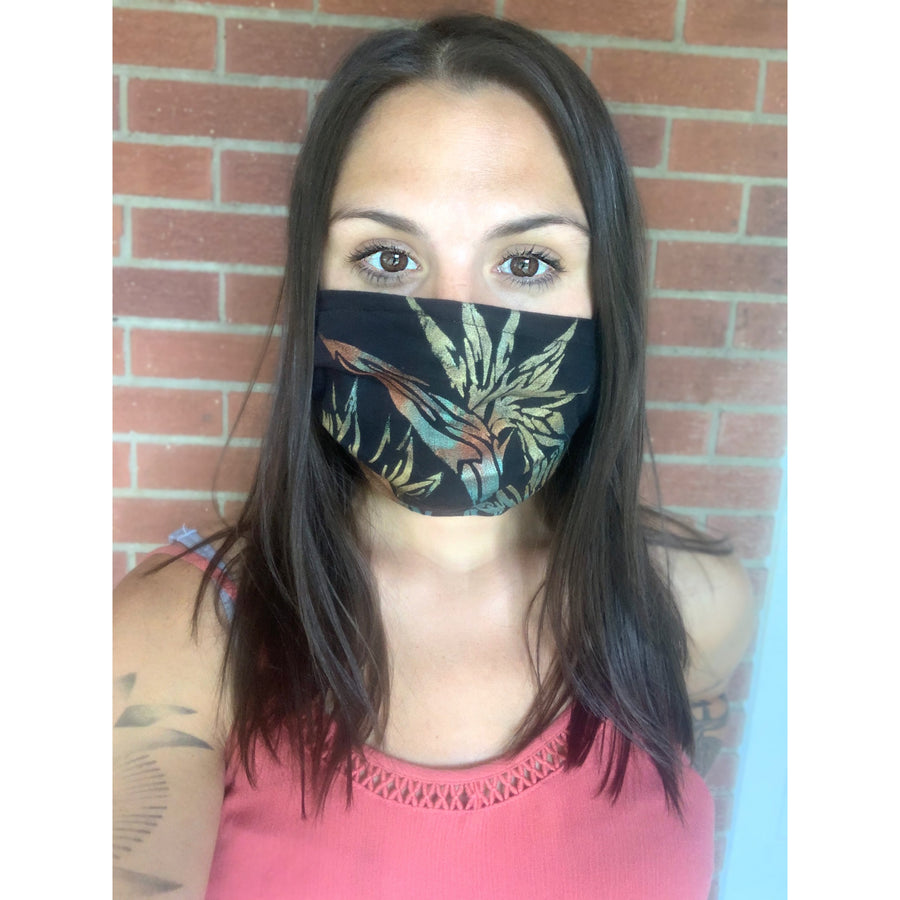 Birds of Paradise Hand Painted Bamboo Face Mask w/ Liner