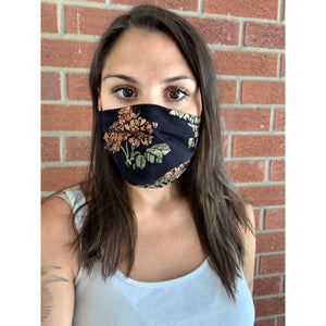 Roses Hand Painted Bamboo Face Mask w/ Liner