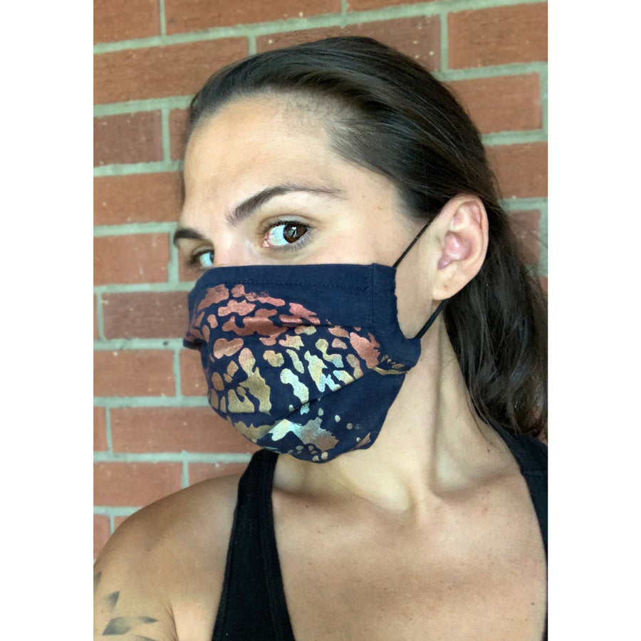Jaguar Hand Painted Bamboo Face Mask w/ Liner