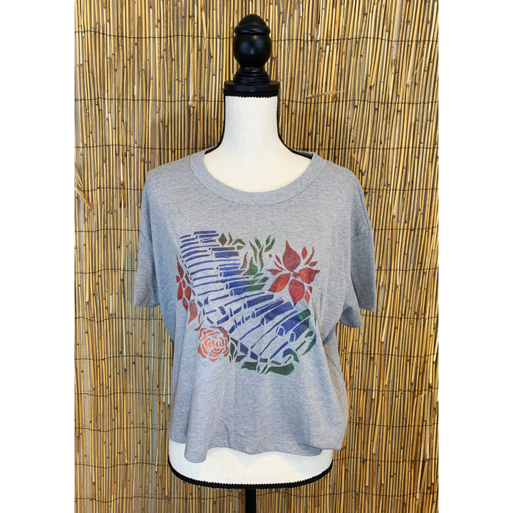 Plant Keyboard Hand Painted Women's Crop Tee