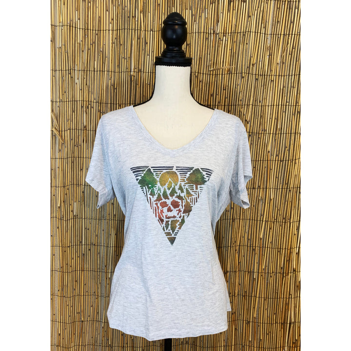 Forest Skull Hand Painted Women's Flowy V-Neck
