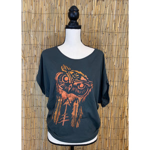 Owl Hand Painted Women's Poncho Cut