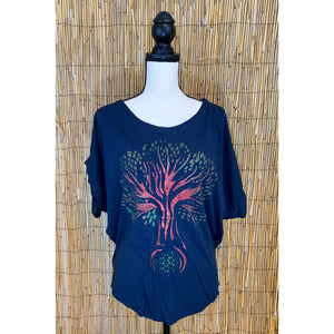 Tree of Life Hand Painted Women's Poncho Cut