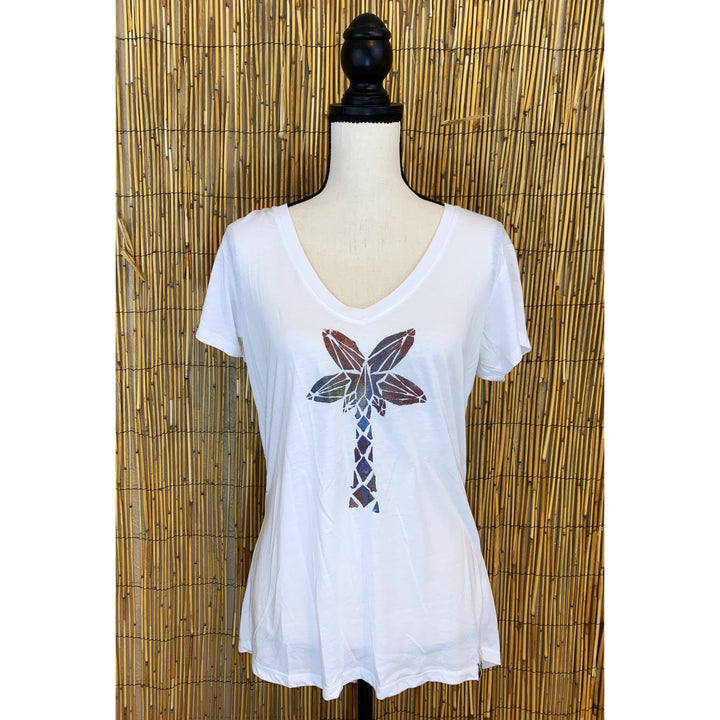 Palm Tree Hand Painted Women's Flowy V-Neck