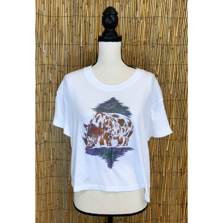 Rhino Hand Painted Women's Crop Tee