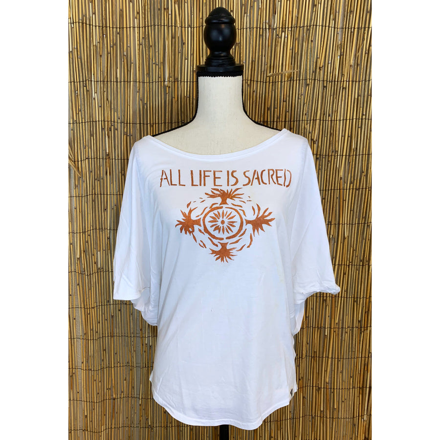 All Life is Sacred Hand Painted Women's Poncho Cut