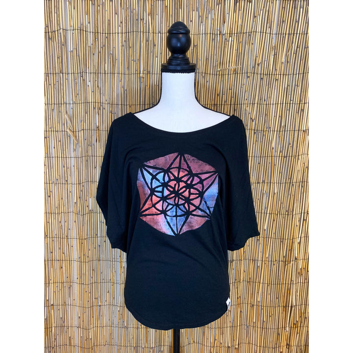Sacred Geometry Hand Painted Women's Poncho Cut