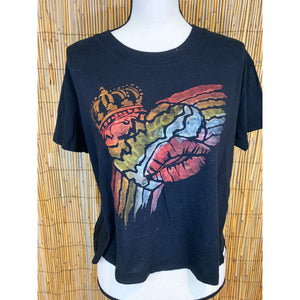 Rainbow Heart Hand Painted Women's Crop Tee