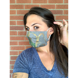 Mountains Hand Painted Bamboo Face Mask w/ Liner