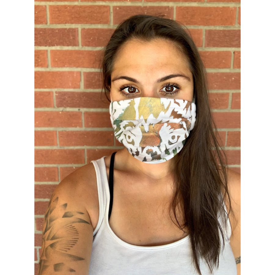 Wolf Hand Painted Bamboo Face Mask w/ Liner