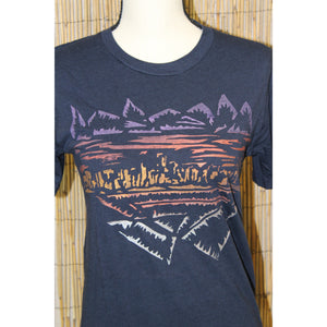 Denver Skyline Hand Painted Bamboo Crew Neck Tee