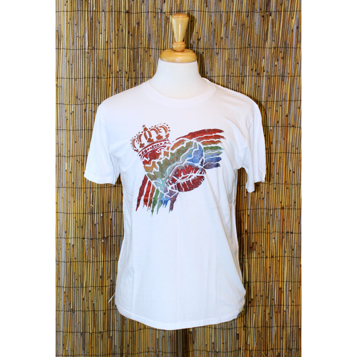 Rainbow Heart Hand Painted White Bamboo Crew Neck Tee