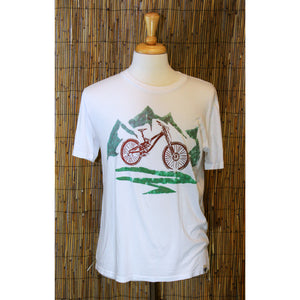 Mountain Bike Hand Painted Bamboo Crew Neck Tee