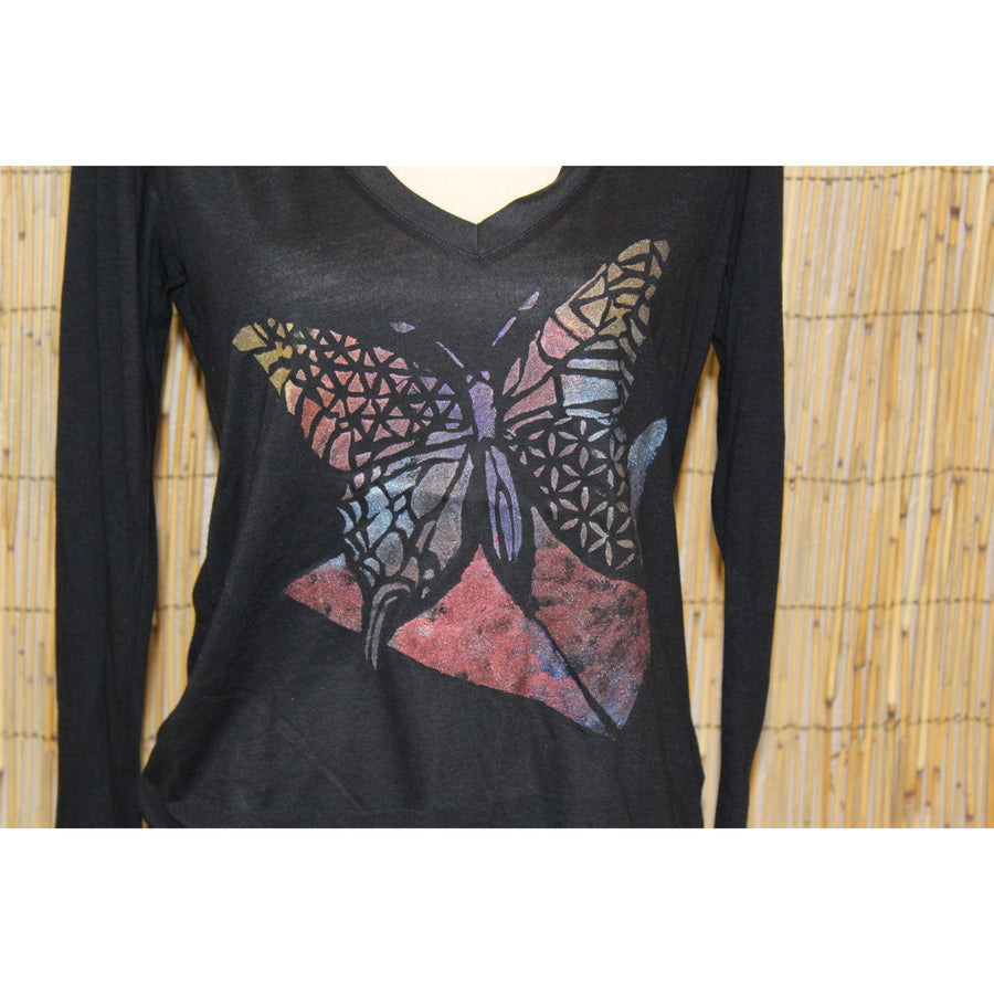 Butterfly Hand Painted V Neck Women's Long Sleeve