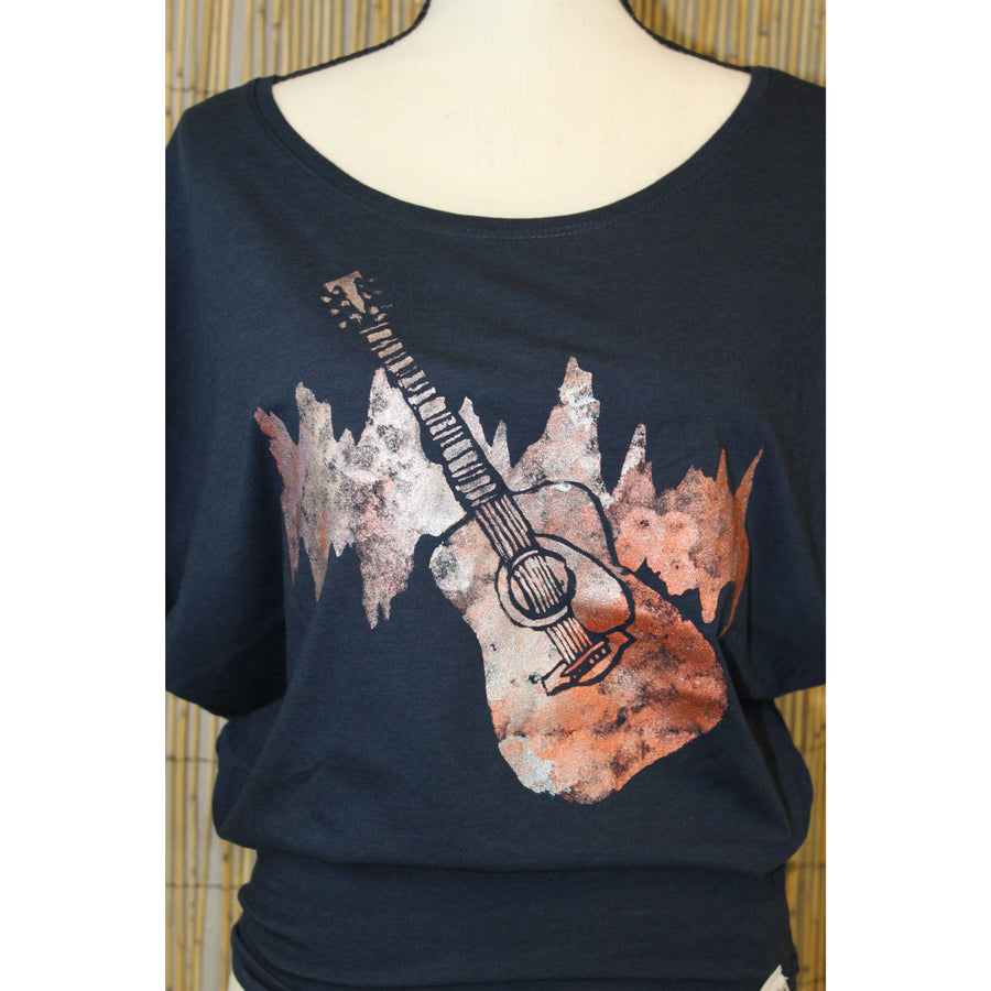 Guitar Hand Painted Women's Poncho Cut