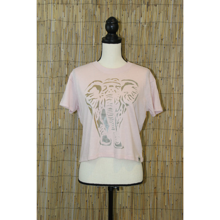 Elephant Hand Painted Women's Crop Tee